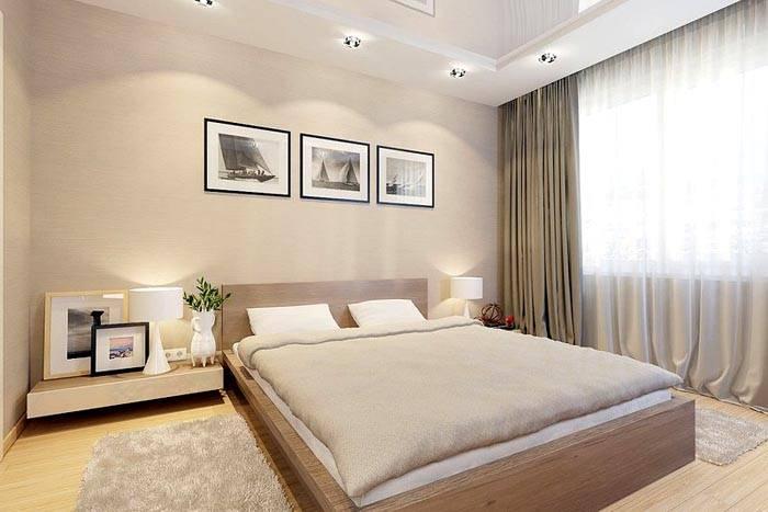 Бежевый интерьер помогает создать замечательную обстановку для сна
