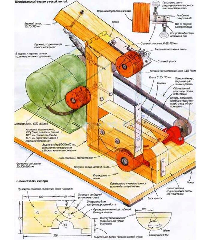 Для создания шлифовального ленточного станка своими руками можно использовать эту схему