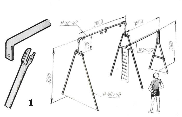Качели из профтрубы: чертежи силового каркаса
