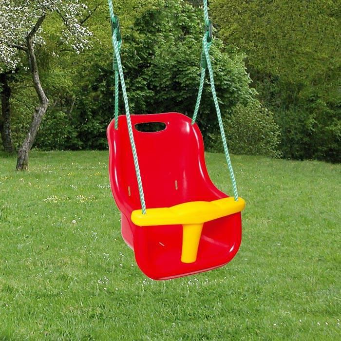 Пластиковое сиденье для детских качелей с фиксирующей перегородкой. Эргономичная форма обеспечивает удобство размещения ребенка. В специальные прорези можно установить дополнительно поясной ремень