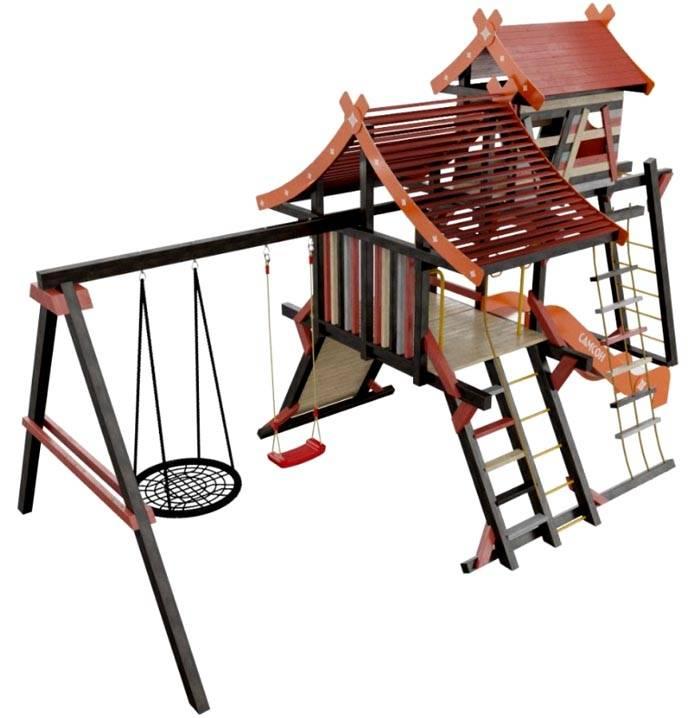 Для строительства возле дома крупного развлекательно-спортивного детского комплекса также подойдут качели гнездо