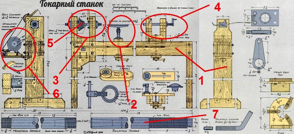 Эти чертежи с размерами токарного станка по дереву своими руками помогут лучше изучить типовую конструкцию
