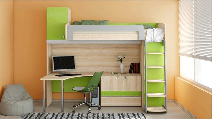 Под спальным местом можно расположить не только стол, но и удобный и вместительный комод