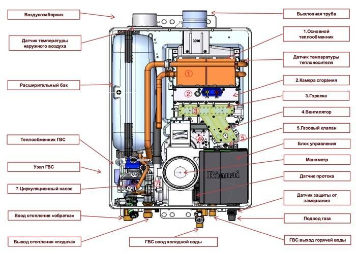 Устройство двухконтурного газового котла – видна каждая деталь