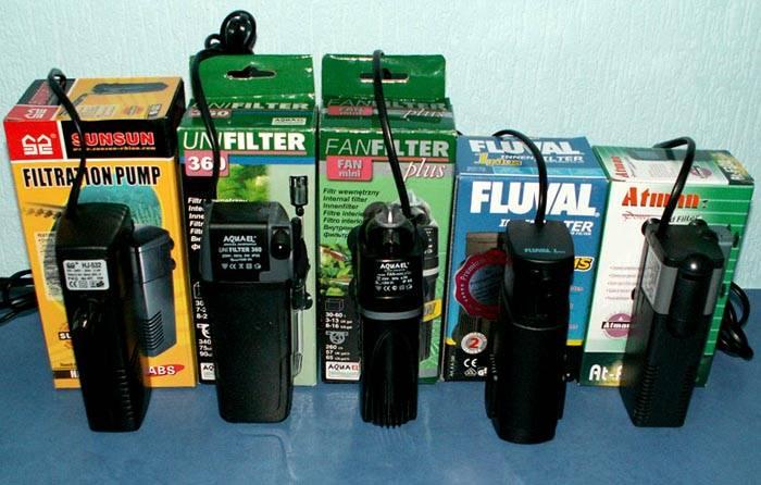 Фильтры, которые устанавливаются внутри аквариума