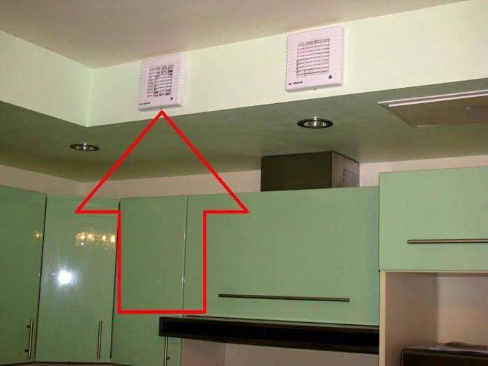 Вентиляцию с обратным клапаном на кухне можно дополнить вытяжкой, которая работает на общий объем помещения