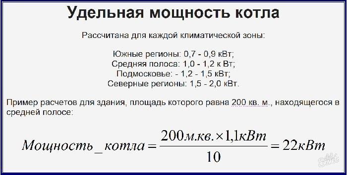 Расчет мощности, необходимой котлу для прогрева определенной площади