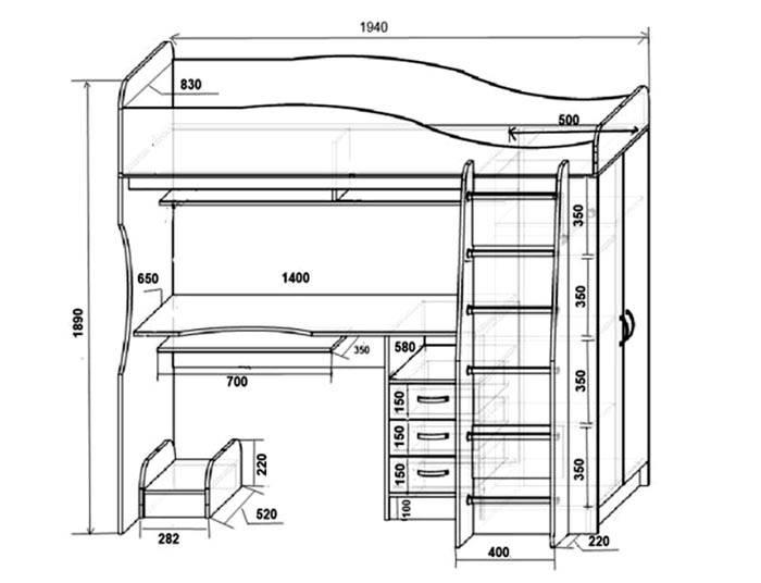 Размеры для конструкции со столом