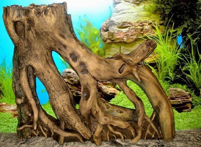 Внешний вид искусственной коряги не отличается от природного аналога даже в мелких деталях