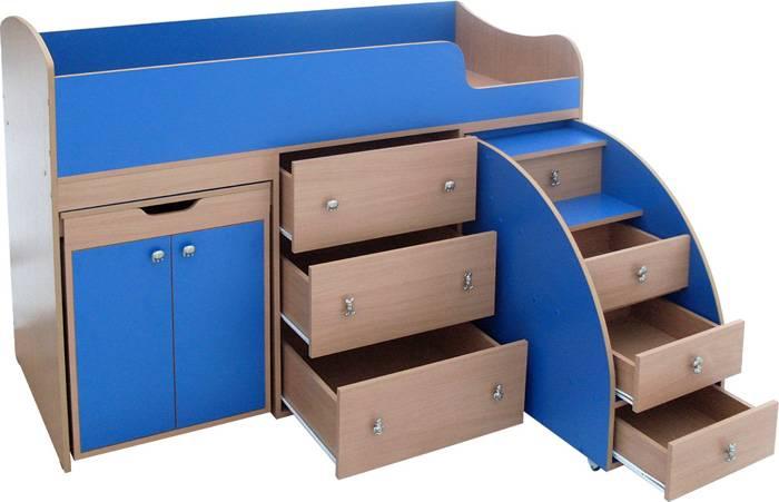Компактная конструкция с выдвижными ящичками и шкафом