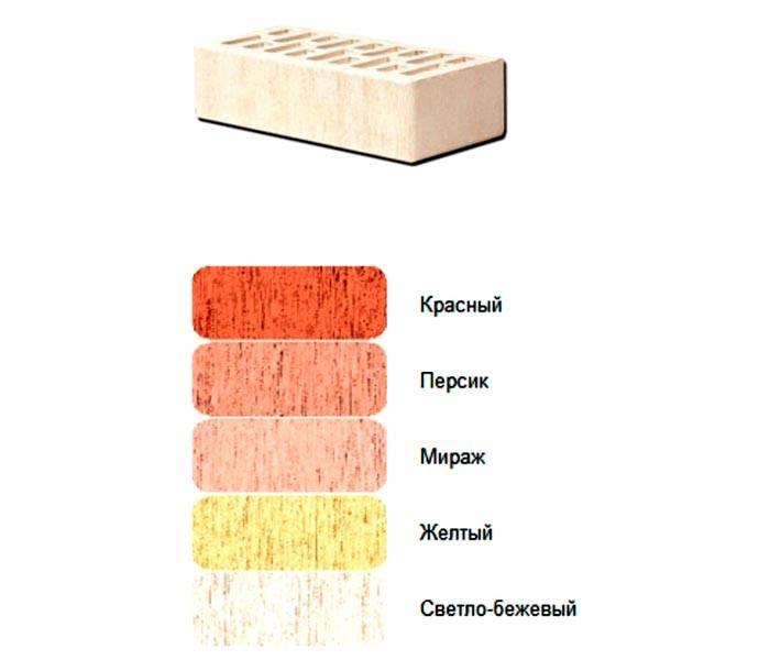 Такими могут быть расцветки облицовочного материала