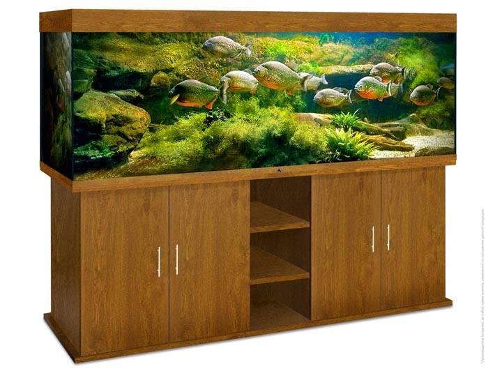 Функциональную и красивуютумбу под аквариум своими рукамивместе с верхней частью (крышкой) можно собрать из стандартных компонентов корпусной мебели