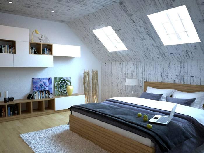 Спальня мансардного типа