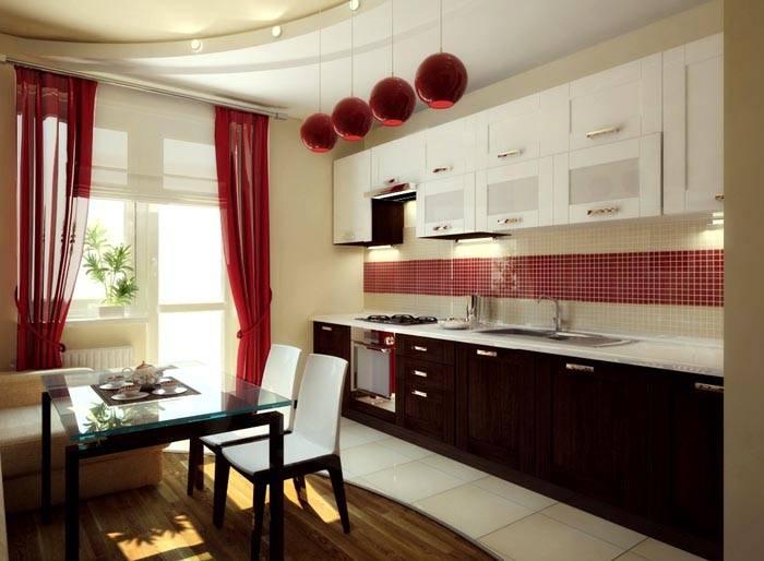 На фото: шторы на кухне в интерьере
