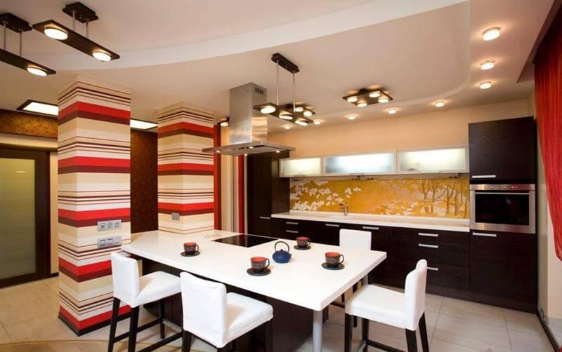 Освещение на кухне: фото в интерьере