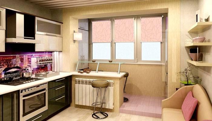 Немного увеличить полезное пространство можно с помощью балкона на обычной кухне. Если вынести туда часть систем хранения – освободится много места