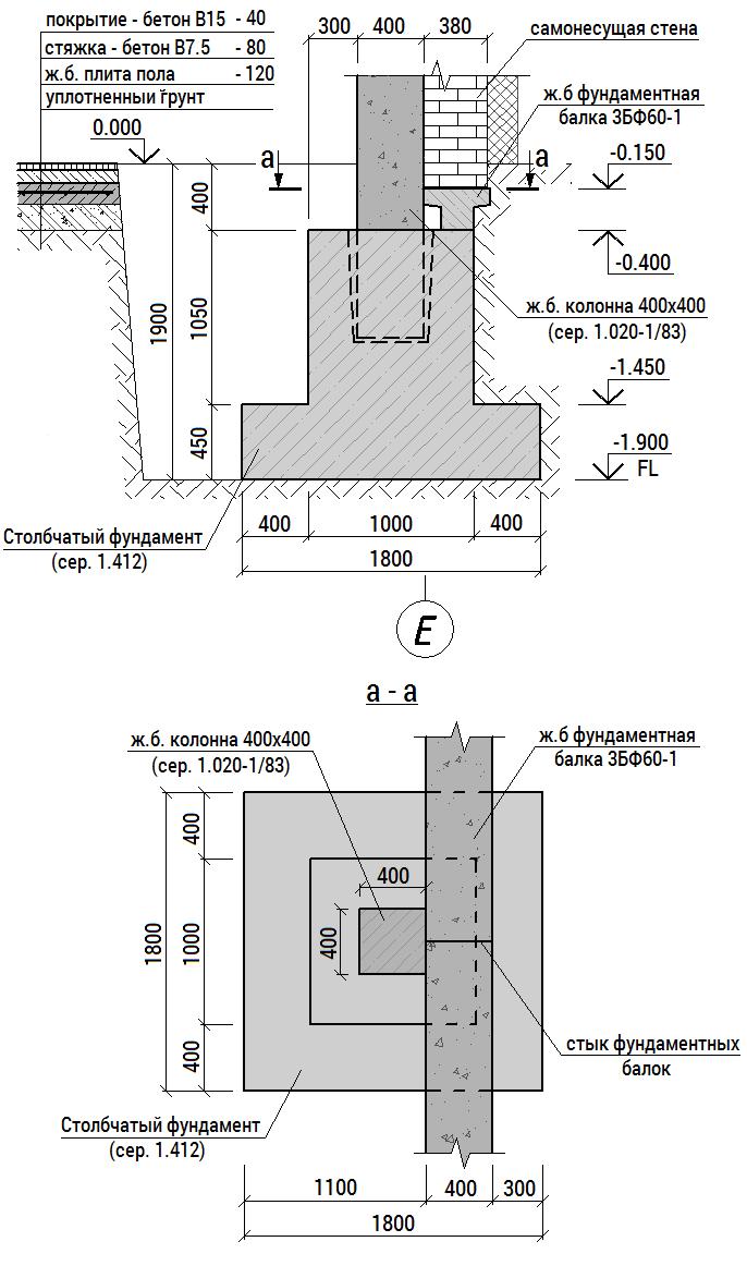 Вид свайного фундамента в разрезе