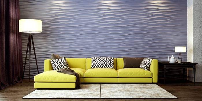 Гипсовые 3D панели – объёмный рисунок горизонтальной волны