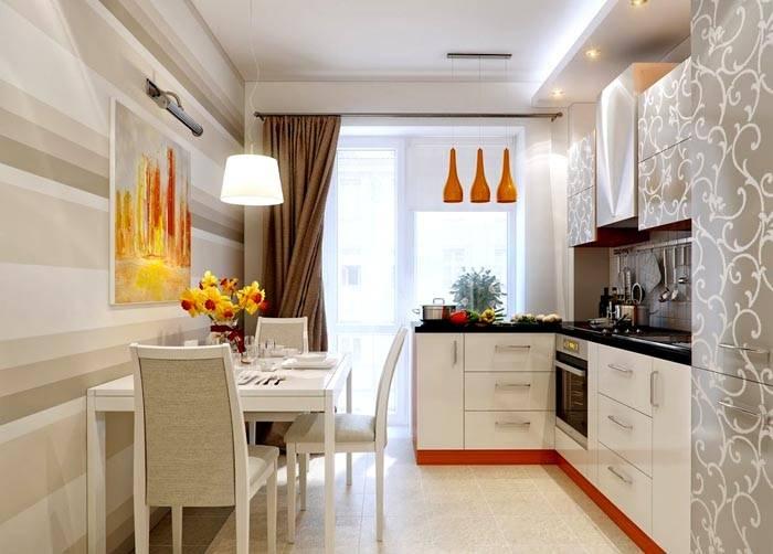 На фото дизайн интерьера кухни 12 кв метров общей площади