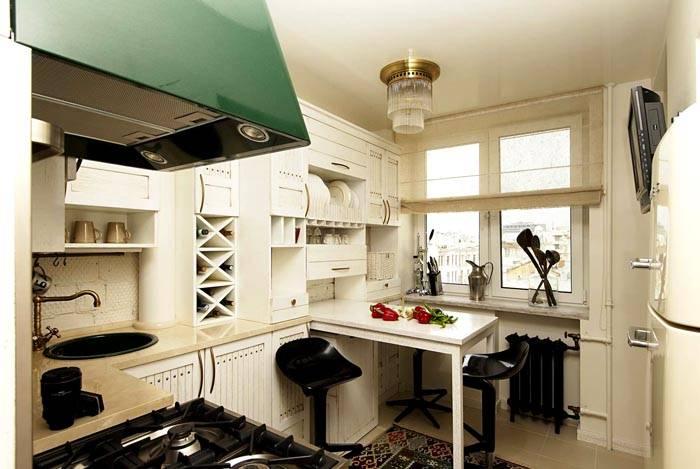 Интерьер кухни 9 кв м с выдвижным столом