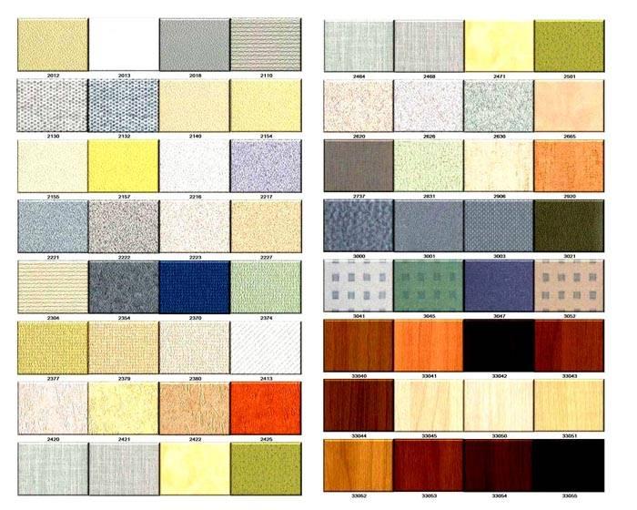 Ассортимент гипсовиниловых отделочных материалов для стен