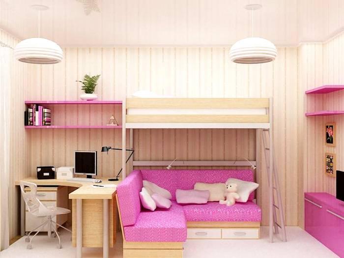 Не трудно подобрать кровать-чердак для подростка девочки в определенном цветовом оформлении