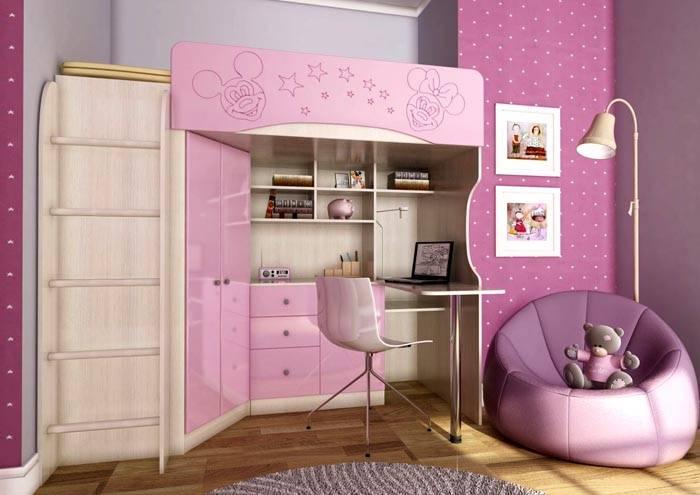 Фото кровати-чердака для девочки старшего возраста