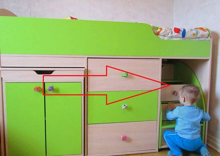 Оснащение кровати-чердака для детей от 5 лет подразумевает возможность самостоятельной эксплуатации
