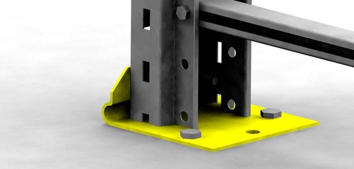 В этой модификации опорной пластины сделаны отверстия. С помощью анкеров обеспечена жесткая фиксация стоек