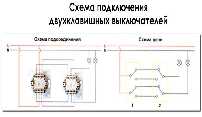 Схематическое изображение двухклавишного переключателя