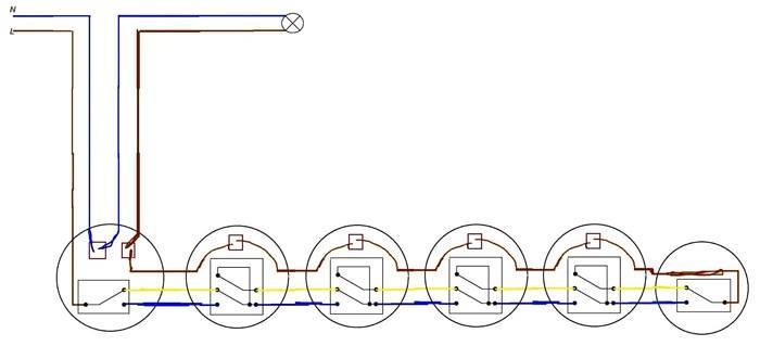 На изображении: 2,3,4 и 5 – перекрестные переключатели