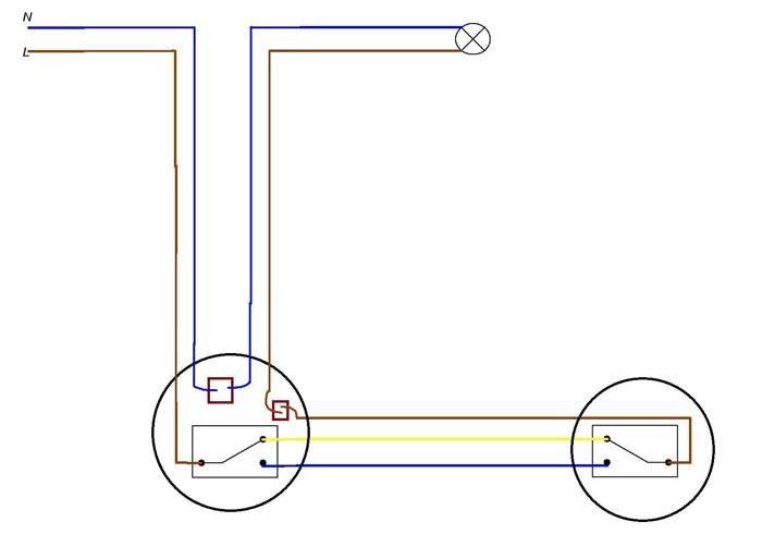 Наиболее простая схема подключения проходного переключателя