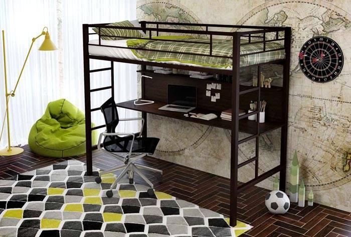 Высокая прочность силового каркаса обеспечивает длительный срок службы металлической кровати-чердака с рабочей зоной