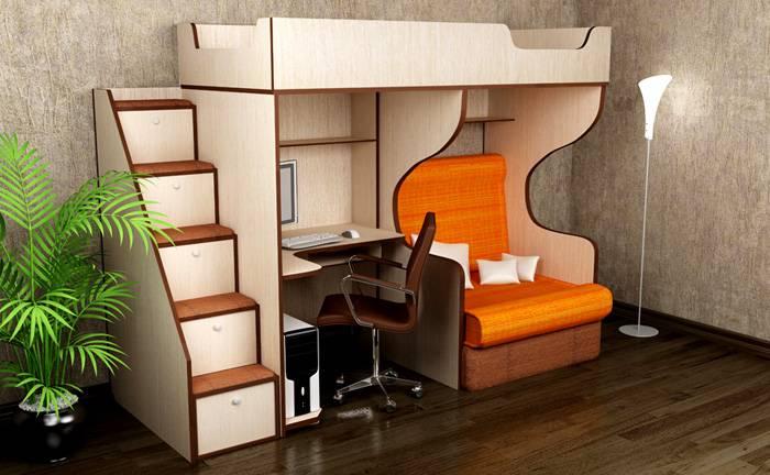Комбинация кровати-чердака для подростка с диваном внизу