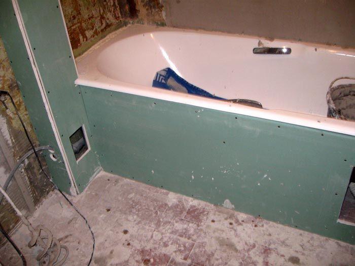 Для отделки ванной следует использовать ГКЛВ