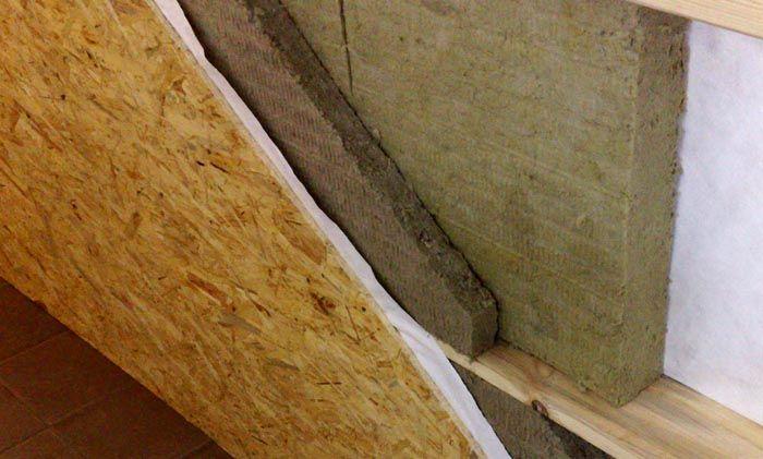 Так выглядит утепленная минеральной плитой стена в разрезе