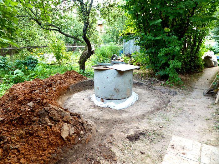 Внешнюю поверхность верхней части колец можно закрыть полиэтиленовой пленкой. Далее устанавливают глиняный замок. На последнем этапе – отмостку из бетона