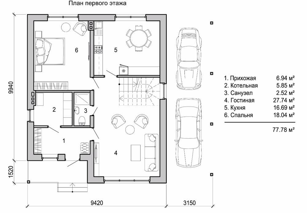 План первого этажа разрабатывается с учетом потребностей конкретной семьи