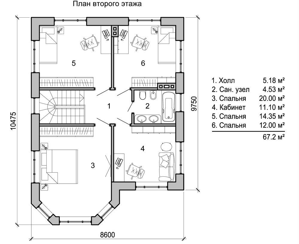 Второй этаж является зоной отдыха семьи