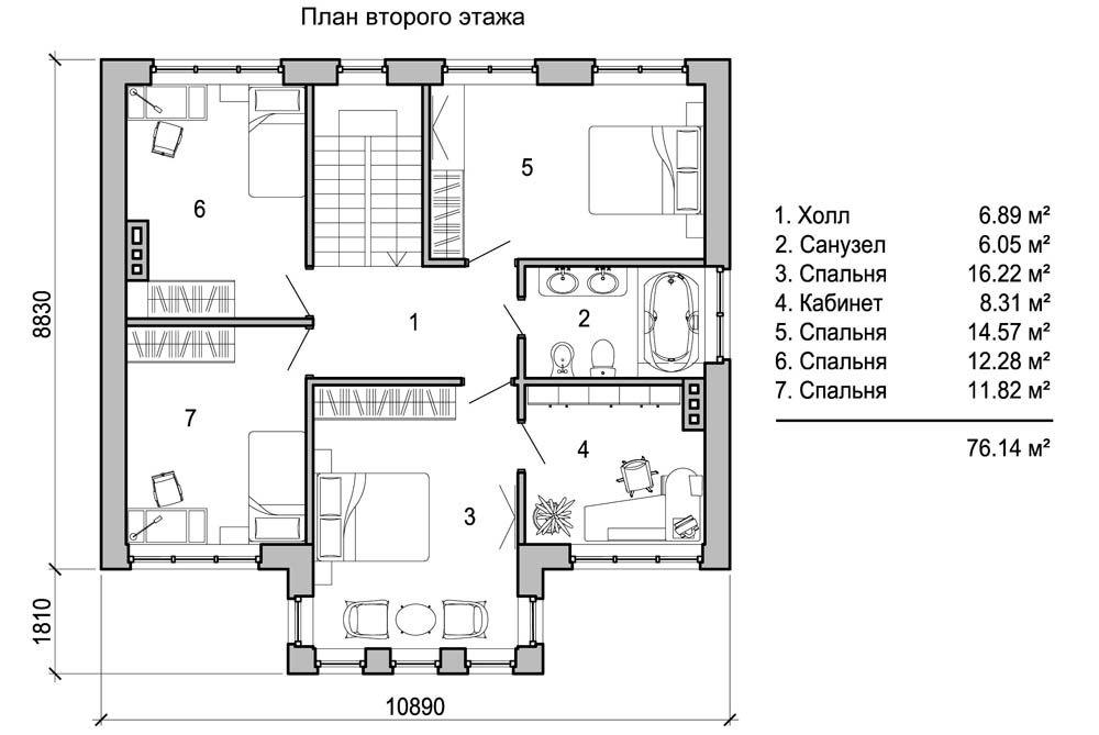 Размер и количество комнат зависят от квадратуры здания