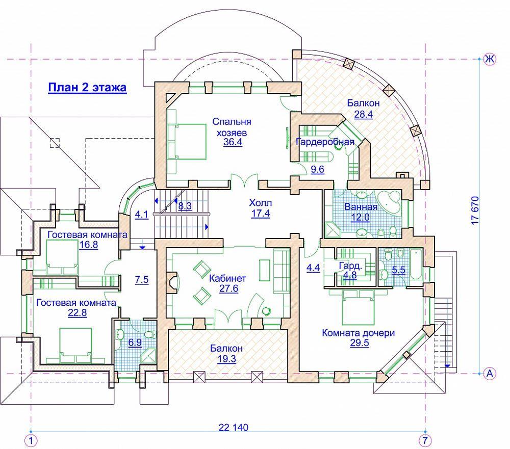 При наличии свободной площади можно предусмотреть дополнительные спальни