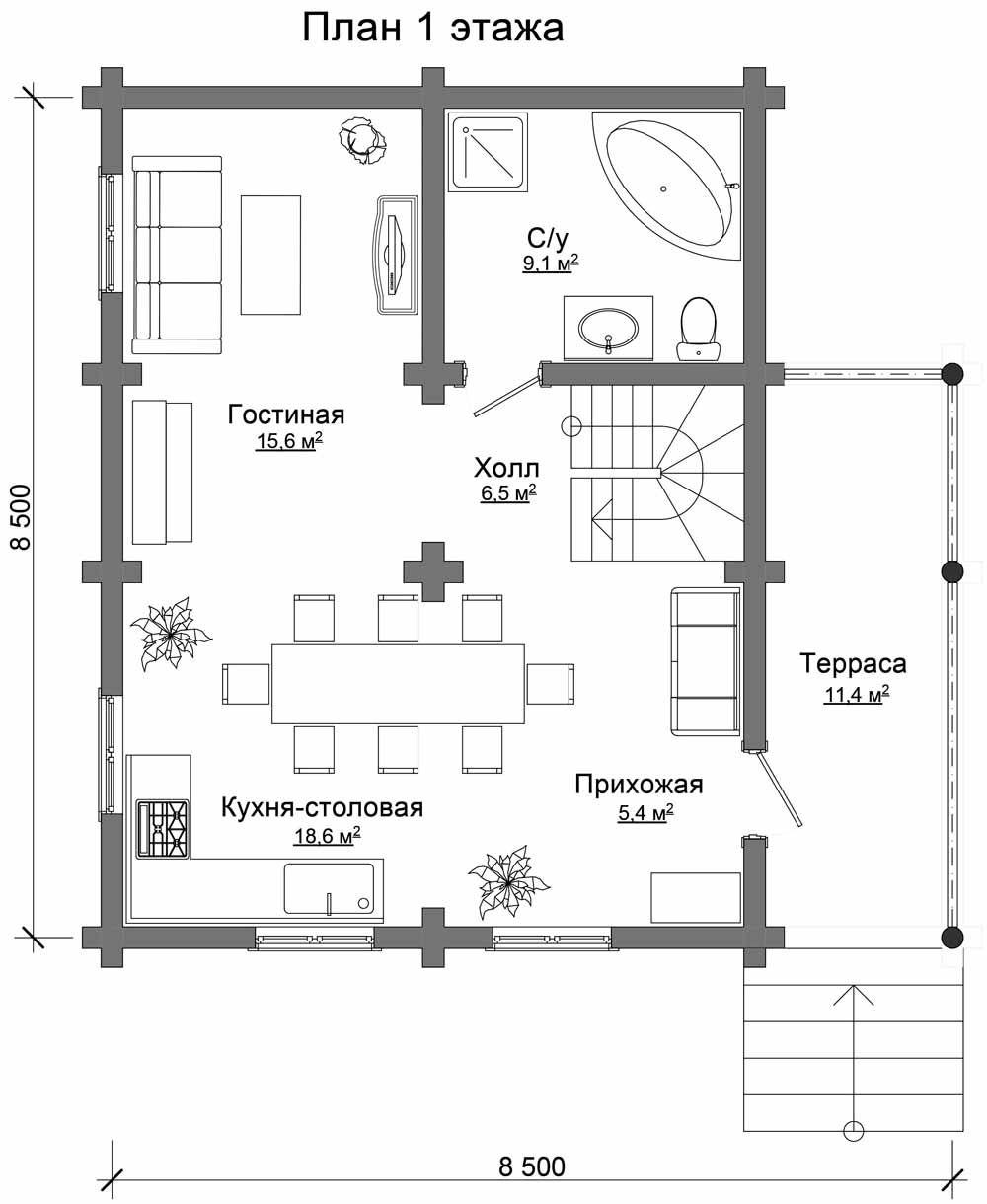 Вариант совмещения комнат на первом этаже