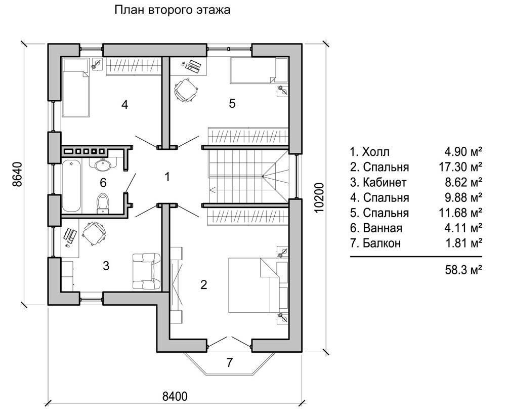 Для прохода в комнаты на втором этаже используется «пяточек» перед лестницей
