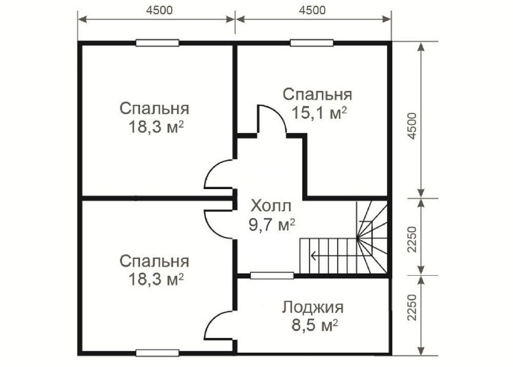 Спальни на втором этаже по плану равной площади