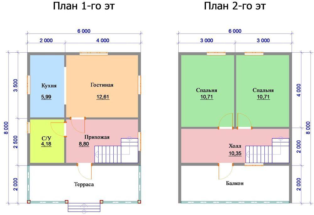 План дома 8×6 м
