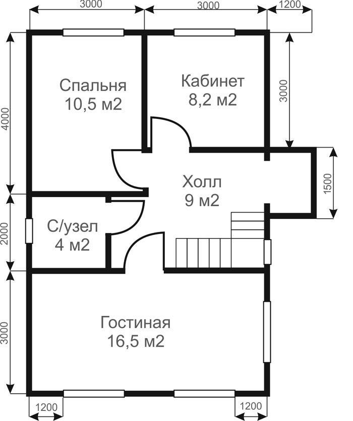 Пример плана второго этажа