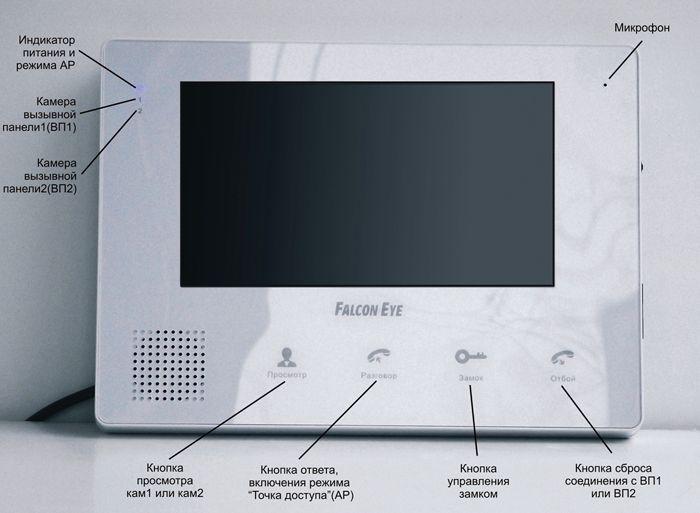 Элементы управления, индикации и контроля видеодомофона для квартиры Falcon Eye FE-IP70M