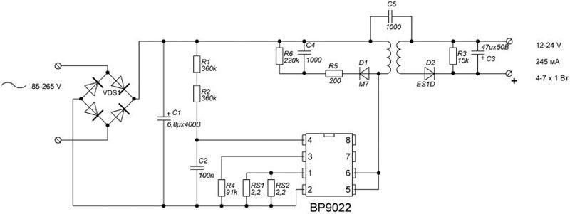 Схема драйвера для светодиодов от сети 220 В с использованием микросхемы