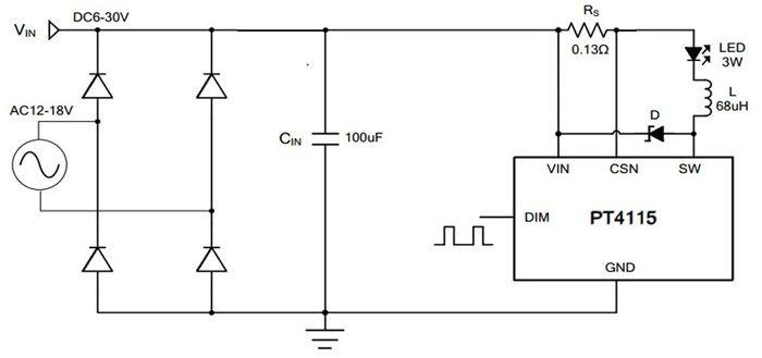 Простая схема драйвера для светодиодов с PT4115 с регулятором яркости