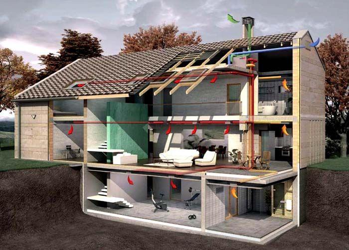 Комплексную приточно-вытяжную вентиляцию в частном доме монтируют на стадии строительства